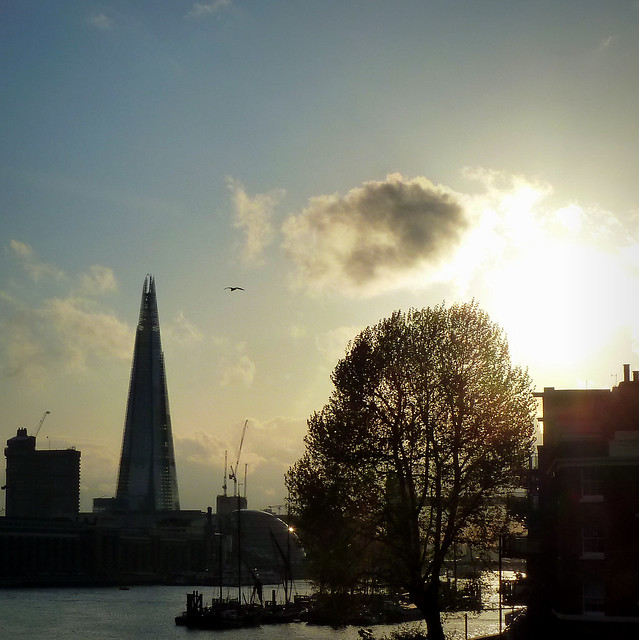London - The Shard, City Hall and Tower Bridge at sunset