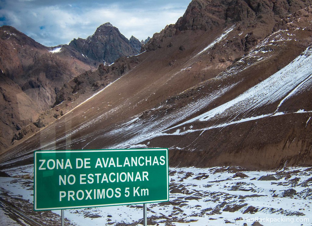 An avalanche warning sign on the road through the Argentina-Chile border