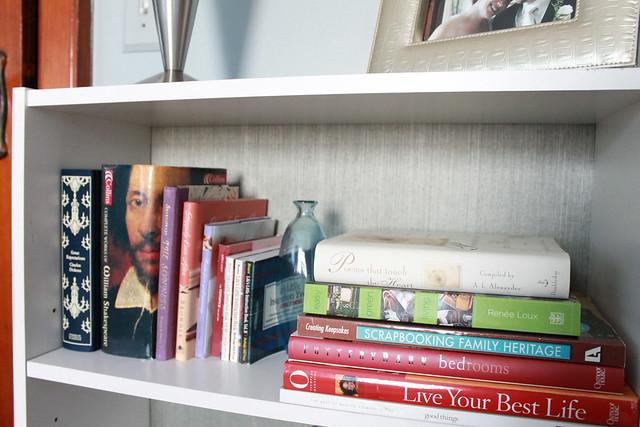 How to Wallpaper the Back of Bookshelves » Decor Adventures