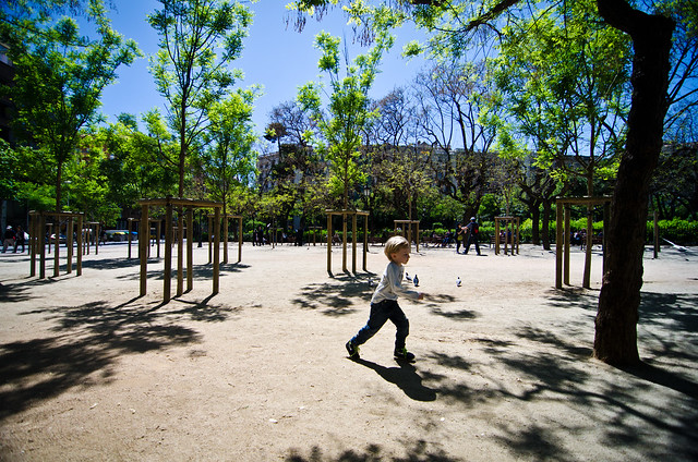 Burning off energy in the park near Gaudi's La Sagrada Familia.