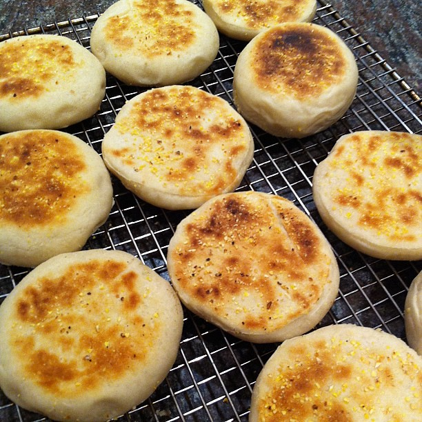 mixed grain english muffins crumpets, toasted, includes granola