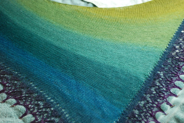 Lazy Katy handspun spindle spun shawl gradient colours