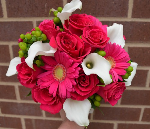 Hot Pink and White Wedding Bouquet