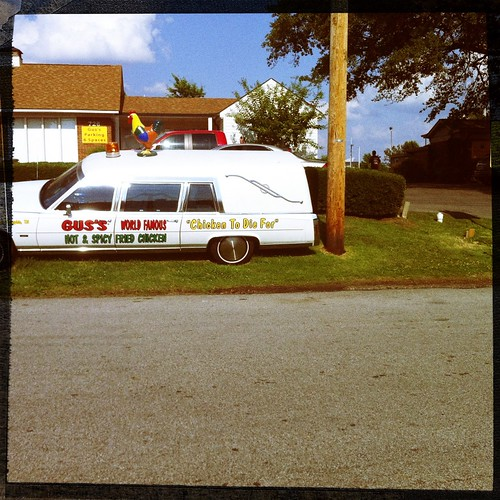 Chicken hearse, Gus's Fried Chicken, Memphis, Tenn.