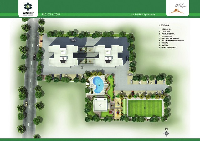 Layout Plan of Vascon Ela - 2 BHK 2.5 BHK Flats opposite Suzlon One Earth at Sade-Satara-Nali (Sade-Satra-Nali) Gram Panchayat, Hadapsar, Pune 411028