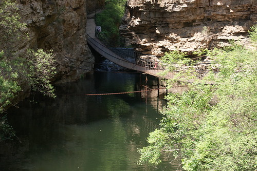 """The Plank Roads"", a chain-bridge hanged directly on the mountain"