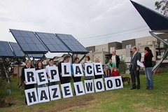 Hazelwood closure urged under the solar panels of CERES in Brunswick
