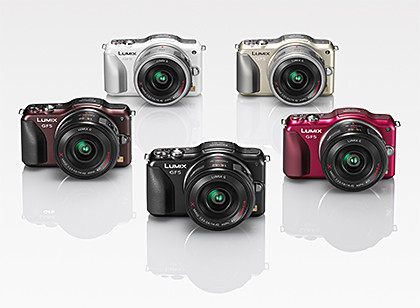 The Panasonic LUMIX DMC-GF5 comes in five colours: Black, White, Red, Brown, and Gold (limited edition).