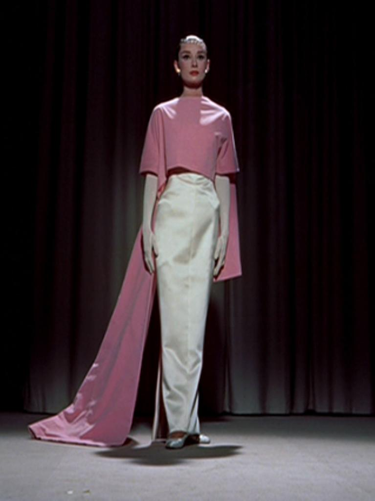 112 2 audrey hepburn in white dress and pink cape in the for Funny face wedding dress