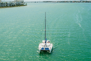 Catamaran approaching Pinellas Bayway Bridge, St Pete Beach