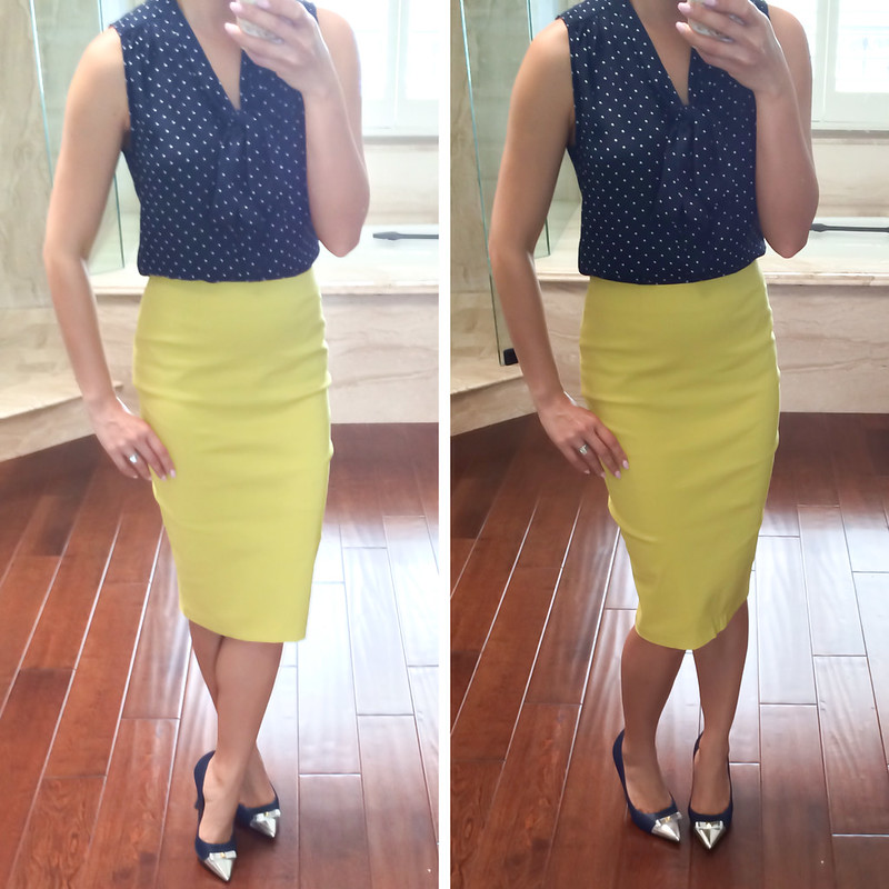 ASOS high waisted chartreuse pencil skirt
