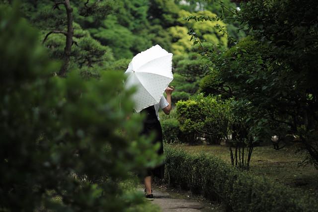 wife in japanese garden