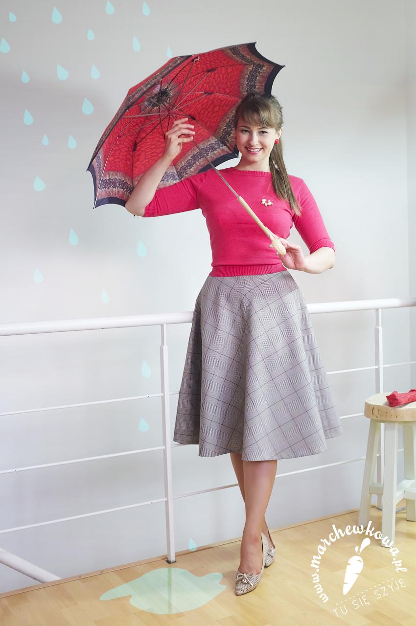 marchewkowa, tu się szyje, blog, krawiectwo, retro, vintage, 50s, 60s, half-circle skirt, sewing, DIY, Glencheck