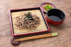 cold soba buckwheat noodles, japanese food