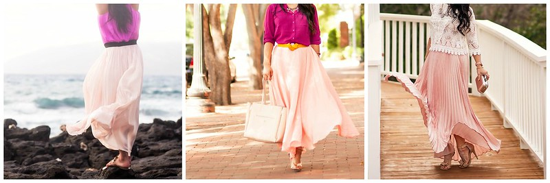 pink maxi skirt collage | 3 ways to style a pink maxi skirt