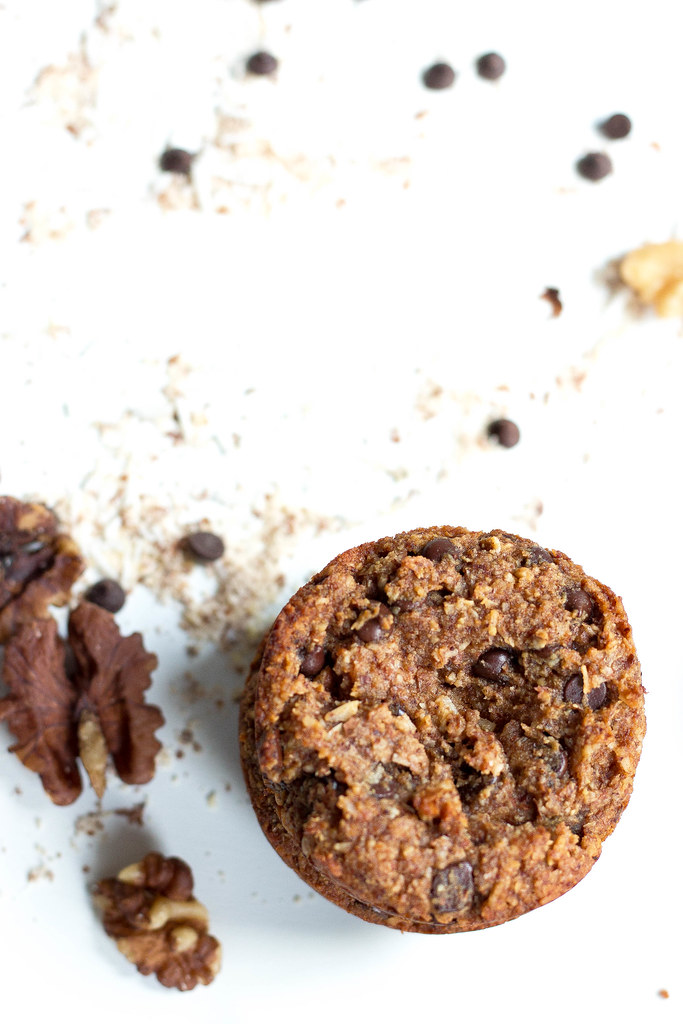 Chocolate Chip Coconut Muffins // Almond Flour + Walnuts
