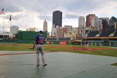 Neil Walker facing the Pittsburgh skyline as he gets ready for batting practice