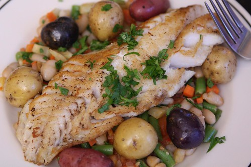 Rockfish with White Beans, Vegetables, and Boiled Baby Potatoes