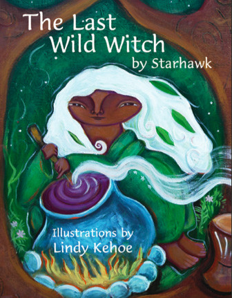 cover of the last wild witch, which features an illustration of a dark-skinned woman with white hair mixing something in a cauldron. She is surrounded by plants