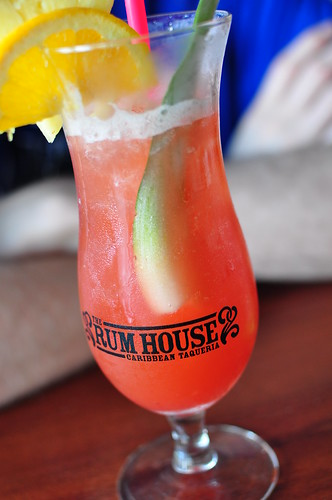 Carribean Punch with Homemade Strawberry Juice - The Rum House, NOLA