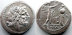 98/A1b Luceria LT Victoriatus. Italic civic mint. Jupiter large head; Victory, LT monogram, trophy / ROMA. AM#1206-31, 3g07