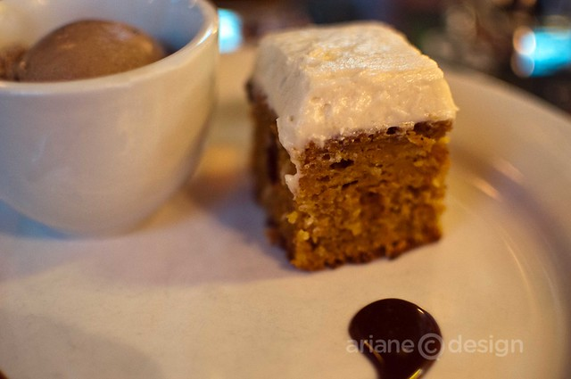 Carrot cake with chocolate coffee ice cream