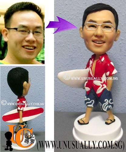 Custom 3D Male Surfer Figurine - @ www.unusually.com.sg