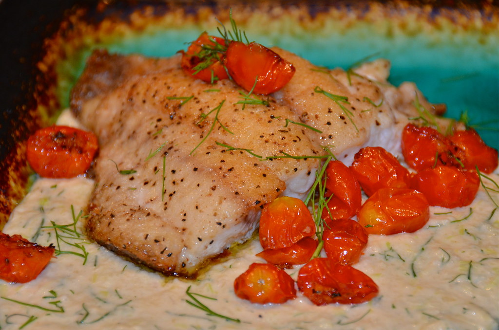 Snapper with Fennel Cream Sauce & Roasted Tomatoes