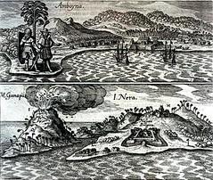 <p>Het fort Ambon in 1655, vestiging van de VOC.</p>
