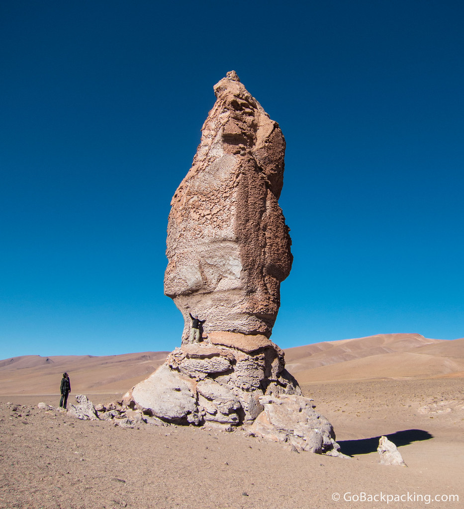 To get a sense of scale, I'm standing on the rock formation, while another person looks up at it.