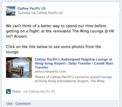 Cathay Pacific Facebook Page