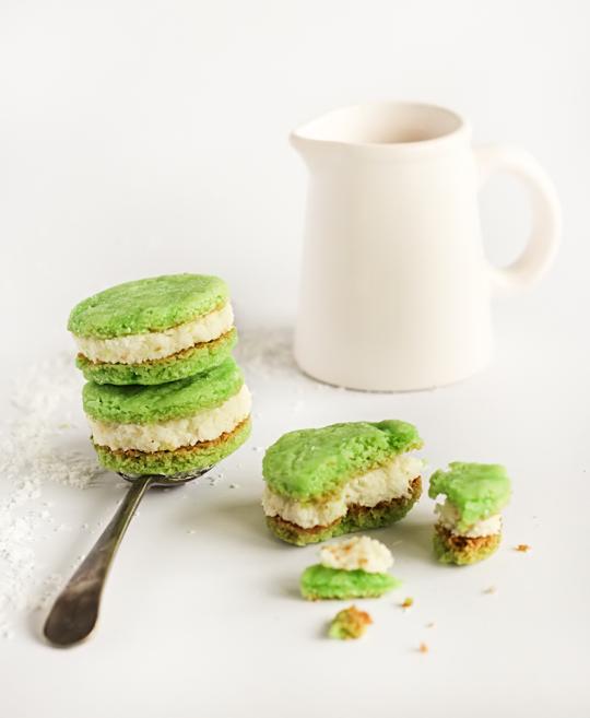 Pandan Coconut Sandwich Cookies