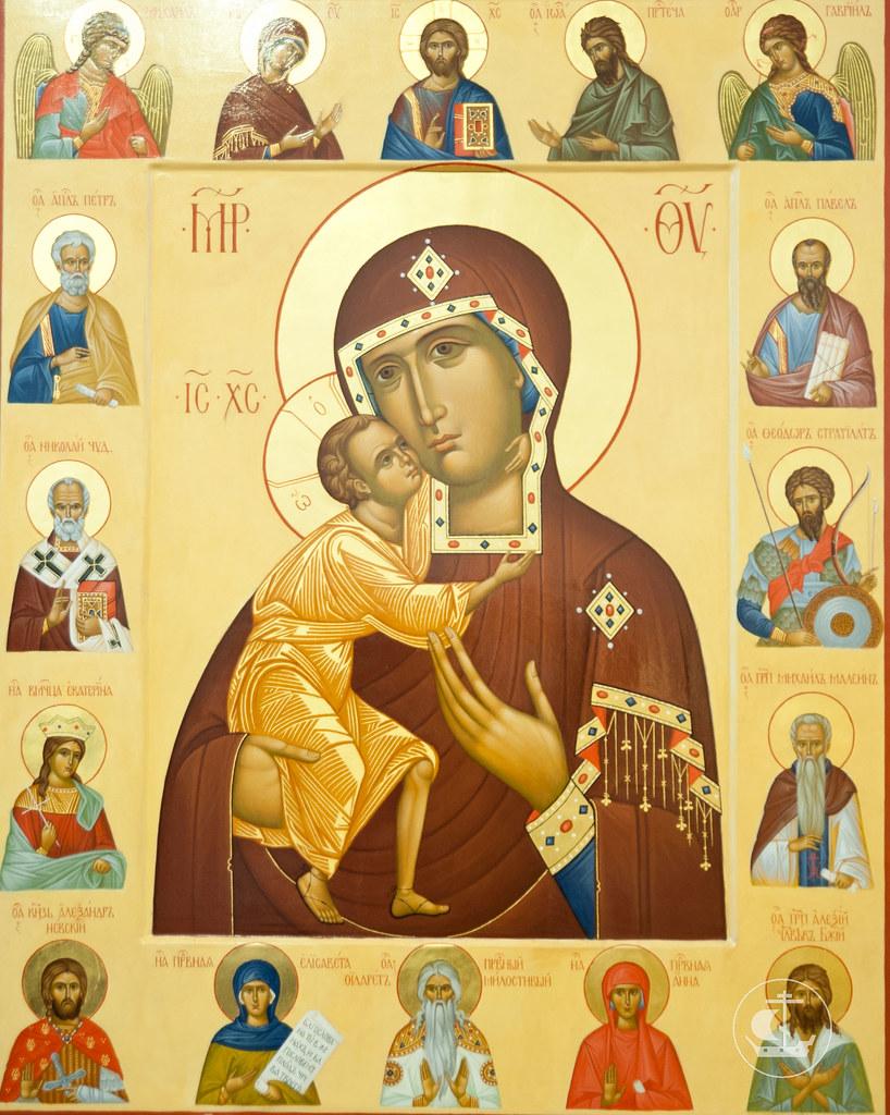 Феодоровская икона Божией Матери с покровителями дома Романовых