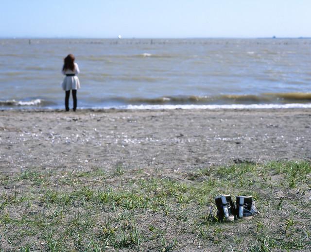 砂浜のシューズ