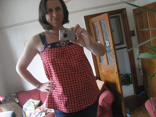New blue top - that ended up red and spotty