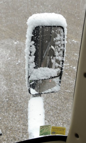 Snow on Rear-View Mirror by RV Bob
