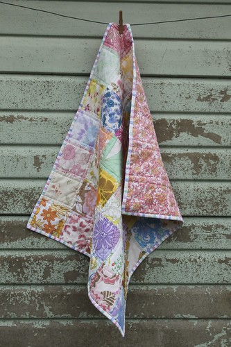 Vintage Sheet Baby quilt - drape