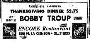 bobby troup thanksgiving ad