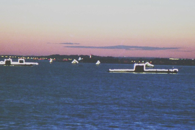 O Class Submarines Night Illumination Silver Jubilee Spithead Fleet Review from HMS Hermes (R12) 1977