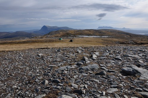 Camp on Beinn Direach, Ben Hope in the background