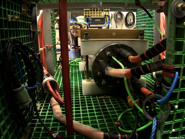 Through one of the instrument platforms, Marine Research and Project Analyst (Engineering), Clio Bonnett can be seen photographing the connector panel of an instrument platform.