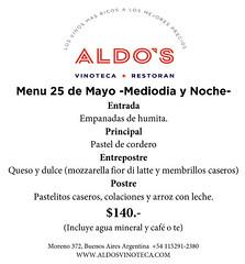 Aldo's propone su menú para el 25 de mayo