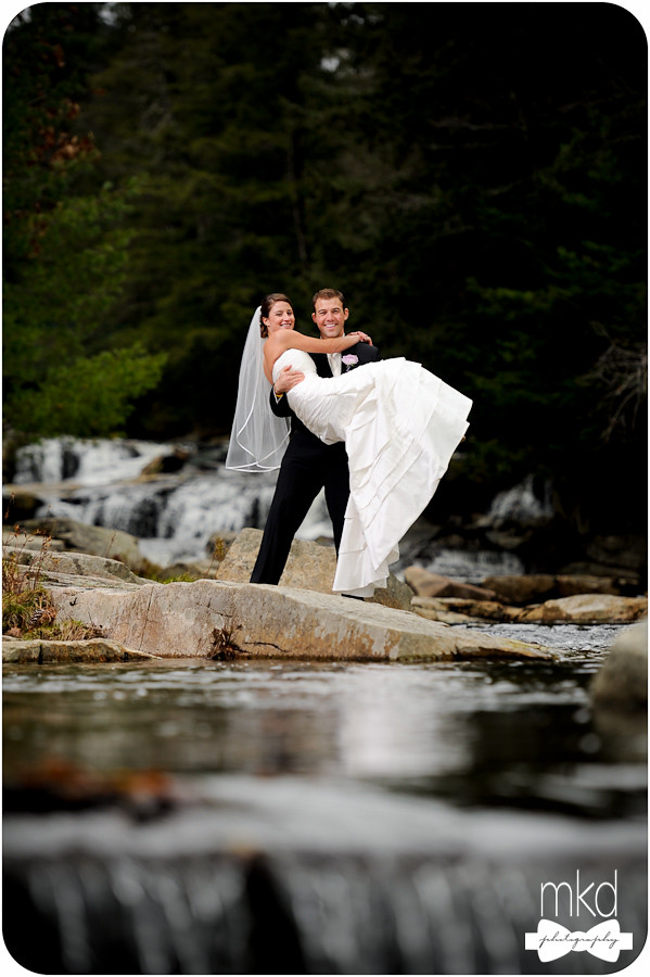 Groom carrying bride - Jackson Falls, NH