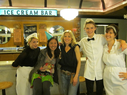 The lovely staff of the ice cream bar