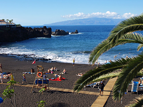 La Gomera from beach at Playa de la Arena on Tenerife