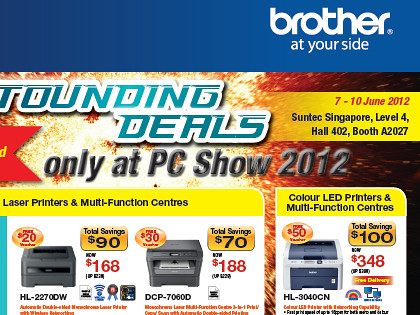 Click on picture to view/download PC Show 2012 brochures from Brother.