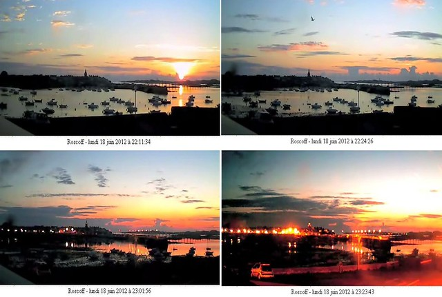 Coucher de soleil le lundi 18 juin 2012 sur le chenal entre Roscoff et l'île de Batz