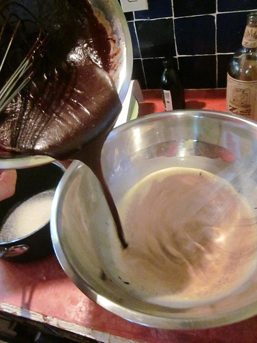 melted chocolate to egg mixture