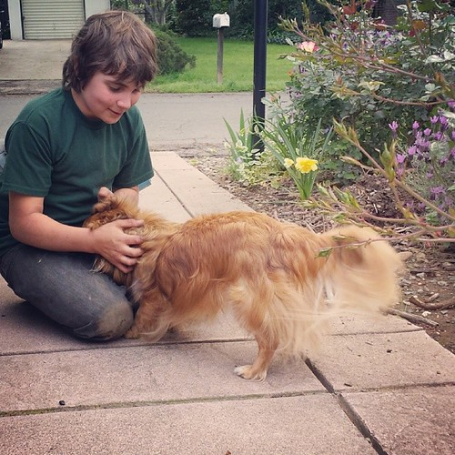 Boy and his dog #11yearold #sixthgrade #home