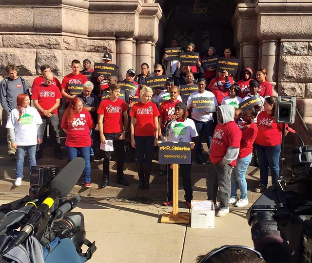 October 2015: Rally at City Hall calling for sick time and fair scheduling